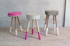 These concrete stools are a quick and easy and each one only costs $5 to make. For step-by-step instructions, check out our website.