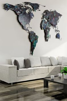 Weltkarte Malerei World Wide Map, Wall Murals, Paintings, Cards