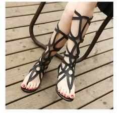 Knee High Gladiator Flip Flop Flats -  - , Look Love Lust - 2