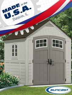 Perfect for storing lawn and garden equipment, the 7' x 7' Cascade® Storage Building features lockable, metal handles for added strength and security. — Made in Batavia, IL.