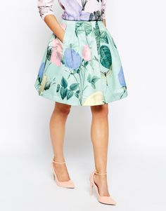 Image 4 of Ted Baker Pleated Skirt in Distinguishing Rose Print