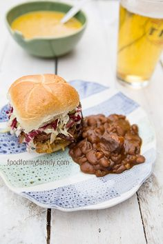 Great menu idea for next family BBQ ~ pulled pork sandwiches, coleslaw and BBQ beans & BEER