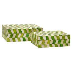 2-Piece Lavinia Bone Trinket Box Set in Green Apple