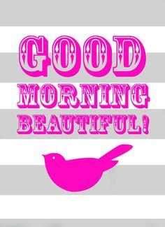 Good Morning Beautiful PINK and GREY 8x10 bird por westeightythird