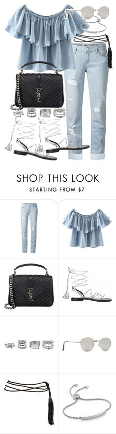 """""""Untitled #19839"""" by florencia95 ❤ liked on Polyvore featuring Paige Denim, Chicnova Fashion, Yves Saint Laurent, Anine Bing, Forever 21 and Monica Vinader"""