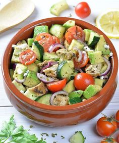 Healthy Chicken, Cucumber, Tomato and Avocado Salad is QUICK and EASY RECIPE for lunch, family dinner or party food for a crowd. Chopped salad with grilled