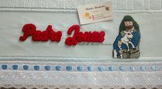 Toalha de Banho bordada em Ponto Russo, O Bom Pastor - Facebook: Biartes Bordados