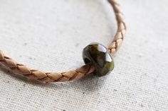 Woven Leather Bracelet Green Beaded Jewelry by LittleBitsOFaith
