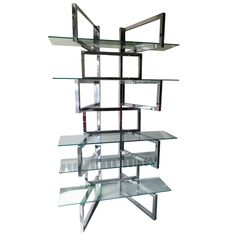 1stdibs | Outrageous Milo Baughman Style Chrome And Glass Etagere Mid-century