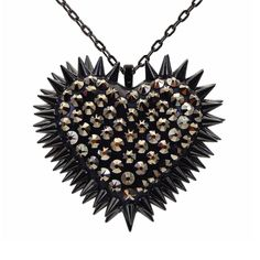 """""""Xirius"""" Spiked & Pavèd Heart Necklace in Rapture"""