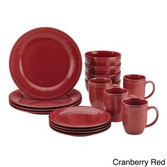 Cranberry Red Cucina Solid Stoneware 16-piece Dinnerware Set #RachaelRay