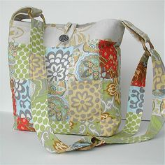 Like patchwork & colors not crazy about wide handle Summer patchwork bag. Modern prints.