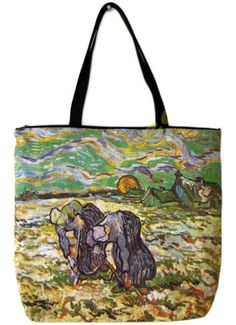 VAN GOGH Hand Print Large Art Bag Purse Tote PEASANT WOMEN DIGGING IN SNOW New #PN #Tote #Purse #Bag #VanGogh #Art #PEASANT WOMEN DIGGING IN SNOW