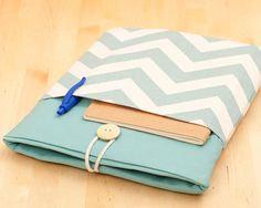 Macbook 13 inch case / 13 inch Macbook air case / Macbook pro 13 case /  Laptop sleeve / padded with pockets  - chevron aqua -