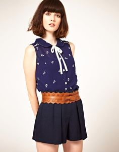 Nishe Tie Neck Blouse in Anchor Embroidery // asos // $71.62