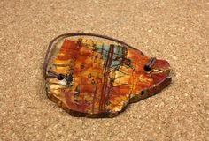 Red Creek Jasper Tablet Pendant Red Yellow and Green by ABOSBeads