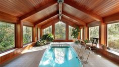 Need indoor swimming pool ideas? Check out out massive photo gallery showcasing 75 cool indoor swimming pool designs. Swimming Pool Cost, Luxury Swimming Pools, Luxury Pools, Indoor Swimming Pools, Swimming Pool Designs, Lap Pools, Lap Swimming, Backyard Pools, Dream Pools