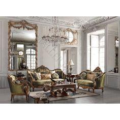 Sage Solid Hardwood Chenille Fabric 3 Pc Sofa Set