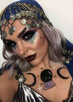21 Fortune Teller Makeup Ideas for Halloween | StayGlam Witchy Makeup, Scary Makeup, Lip Makeup, Makeup Looks, Fortune Teller Makeup, Fortune Teller Costume, Dramatic Eye Makeup, Dramatic Eyes, White Contact Lenses