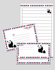 Free printable panda bear notepaper with matching envelope.