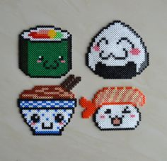 Kawaii Food Hama Perlen von , Source by pabramsen You could b Perler Bead Designs, Perler Bead Templates, Hama Beads Design, Diy Perler Beads, Perler Bead Art, Pearler Beads, Hama Beads Kawaii, Melty Bead Patterns, Pearler Bead Patterns