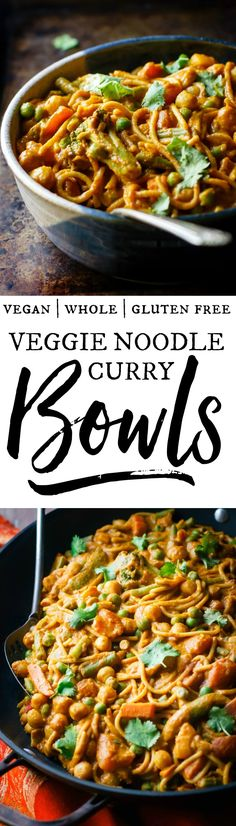 Veggie noodle curry bowls = your favorite noodles, loaded with creamy, spicy sauce and lots of veggies! Perfect when you're craving Indian restaurant flavor in a comforting, bowl-style meal. Vegan, healthy, delicious! via @happy_foodista