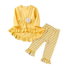 Baby Girl Clothes Ruffle Outfits Short Sleeve Shirt Tops+Floral Denim Pants Ripped Jeans for Girls Fall Family Outfits, Spring Outfits, Winter Outfits, Toddler Outfits, Kids Outfits, Winter Baby Clothes, Spring Clothes, Girls Ripped Jeans, Striped Flare Pants