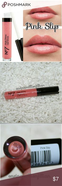 N°7 High Shine Lip Gloss - Pink Slip New/Sealed  Full Sz & Authentic  Color: Pink Slip  N°7 High Shine Lip Gloss is a luxurious, moisturizing gloss that glides on lips easily for high shine in just one coat.  ☆ Moisturizing ☆ Long wearing ☆ Great coverage ☆ Non-sticky ☆ Smooth application ☆ Hypo-allergenic ☆ Glossy finish  Check my page for more great items & discounts. #oneinamillionjillian N°7 Makeup Lip Balm & Gloss