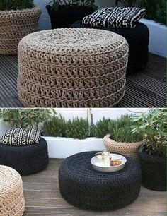 20 Amazing Diy ideas and crafts with pouf Diy Divan, Tire Furniture, Outdoor Furniture, Tyres Recycle, Diy Décoration, Easy Diy, Crochet Home, Elle Decor, Diy Home Decor