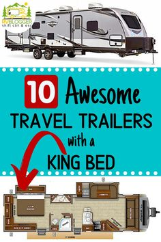 Travel Trailers come in a variety of lengths and sleeping arrangements. A popular luxury RV amenity is a king size RV bed. Most RVs are equipped with a queen or short queen size bed. Best Travel Trailers, Travel Trailer Camping, Vintage Campers Trailers, Rv Campers, Rv Travel, Camper Trailers, Airstream Camping, Teardrop Campers, Vintage Airstream