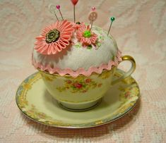 teacup pincushions pictures   Noritake teacup pincushion with vintage by Secondhandrose on Etsy