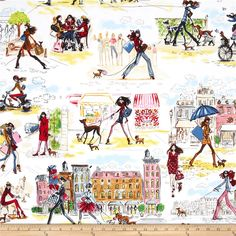 Robert Kaufman Who's that Girl Scenic Multi from @fabricdotcom  Who's That Girl? is designed by Izak Zanou for Robert Kaufman. Perfect fabric for quilting, craft projects, apparel and home decor accents. Colors include shades of brown, pink, red, brown, green, white, black, and grey.