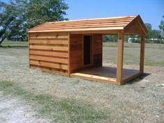 custom heated dog houses   Custom Cedar Dog House with Porch   Custom Ac Heated Insulated Dog ...