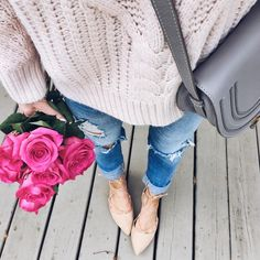 Blush cable knit sweater, ripped jeans, Chloe bag and nude lace up flats