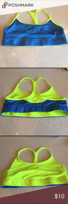 Champion reversible Sports Bra Size medium - light blue and highlighter yellow - I have many other colors in my closet so bundle and save! Champion Intimates & Sleepwear Bras