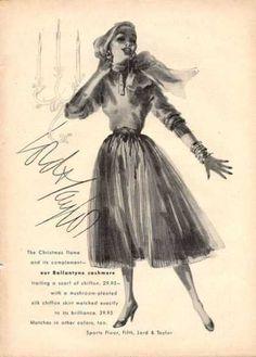 Lord Taylor Ballantyne Cashmere Fashion Dress (1952)
