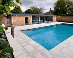 Comfortable Swimming Pool Design Idea Equipped With Payer Deck Material With Green View And Modern Loungers Image Gallery Small Pool Design Ideas Photograph Pool Pic. Home Design Furniture