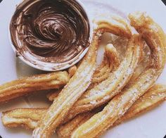 Image de food, chocolate, and churros Chocolate Desserts, Chocolate Churros, Chocolate Pudding, But First Coffee, Sweet Desserts, I Love Food, Summer Recipes, Delish, Sweet Tooth
