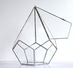 Terrarium, Large stained glass hanging terrarium, teardrop dodecahedron, eco-friendly recycled glass- great for ferns and moss on Etsy, $145.00