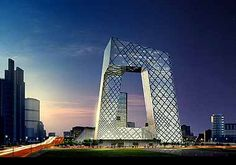 A rendering of the China Central Television Headquarters in Beijing, designed by Rem Koolhaas's architecture firm, OMA Rem Koolhaas, Architecture Design, Famous Architecture, Contemporary Architecture, Rotterdam Architecture, China Architecture, Innovative Architecture, Building Architecture, Hotel Puerta America Madrid