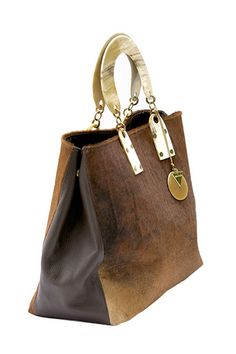 Atoti cow hide tote bag, brown /// Swaady collection www.adeledejak.com