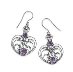 Oxidized Ornate Amethyst Earrings from Blue Tulip Boutique