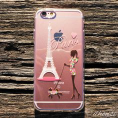 Japanese Soft Clear Case Girl Love Paris Eiffel Tower for iPhone 6 & iPhone 6s