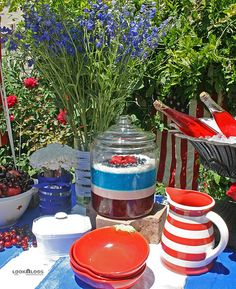 A patriotic picnic table spread for your July party. Layered Jello, Candy Jars, Red White Blue, Picnic Table, Independence Day, Fourth Of July, Summer Fun, Shredded Coconut, Three Days