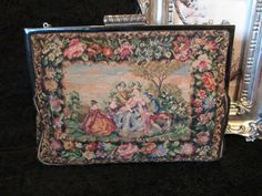 SALE SALE Beautiful Vintage Scenic Petit Point Purse with Enamel Frame and Marcasite Clasp. $145.00, via Etsy.