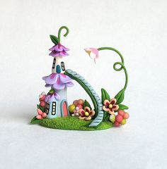 Miniature Whimsical Fairy Blossom House with Staircase OOAK by C. Rohal
