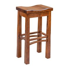"""This Stylish 30"""" Madison Saddle Stool is skillfully constructed by highly experienced Craftsmen in the Heartland of America. This stool is a beautiful example of a Frank Lloyd Wright inspired piece. This elegant barstool is handmade using sturdy Cherry Wood (shown); note every surface of this stool is softly smoothed and rounded to the touch without sharp corners or edges. In addition, this Madison Saddle Barstool also features a sealed conversion varnish that protects this piece from…"""