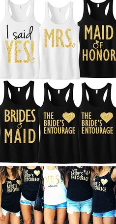 Gold Glitter #Wedding tanks at www.MrsBridalShop.com! Mix and match. Buy 2 save 10%, buy 4 save 15%, buy 8+ save 20%. Perfect for the bachelorette party, and all bridal crew events!