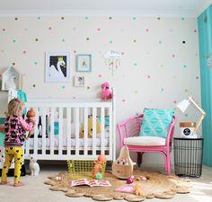 girls bedroom ideas - tips for using decals in kids rooms - www.fourcheekymonkeys.com