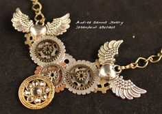 Steampunk necklace wings and gears. Vintage by AndreaGammieJewelry, $24.00